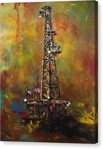 Oil Rigs Canvas Print - Colors Of Oil by Debbi Unger