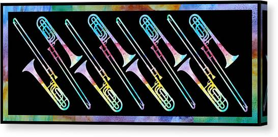 Trombones Canvas Print - Colorwashed Trombones by Jenny Armitage