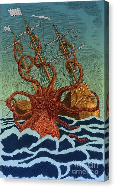 Folktale Canvas Print - Colossal Octopus Attacking Ship 1801 by Science Source