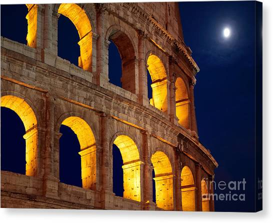 Ancient Rome Canvas Print - Colosseum And Moon by Inge Johnsson