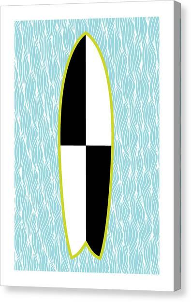 Surfing Canvas Print - Colour Block Surfboard by Susan Claire