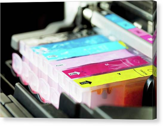 Printers Canvas Print - Colour Printer Cartridge by Wladimir Bulgar/science Photo Library