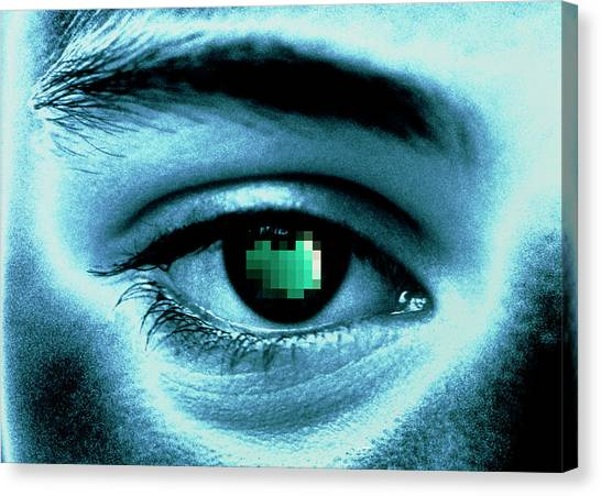 Pixelated Canvas Print - Coloured Image Of A Man's Eye With Pixelated Pupil by Alfred Pasieka/science Photo Library