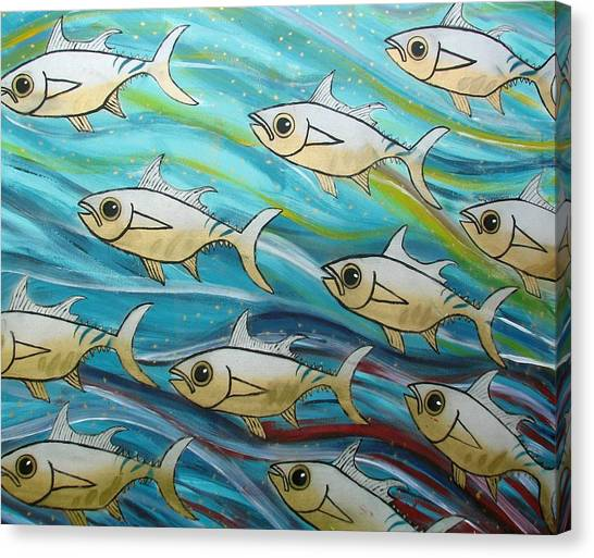 Canvas Print - Coloured Water Fish by Joan Stratton
