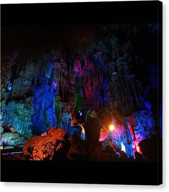 Stalagmites Canvas Print - Colourful Cave Canvass by Peter Bromfield