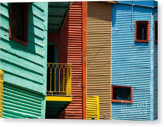 Colourful Houses In The Colourful Quarter Of La Boca - Buenos Air Canvas Print by OUAP Photography