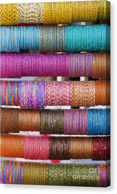 Indian Canvas Print - Colourful Indian Bangles by Tim Gainey