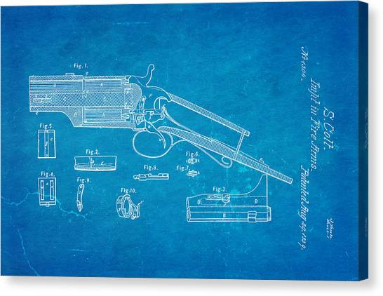 Nra Canvas Print - Colt Pistol Patent Art 1839 Blueprint by Ian Monk