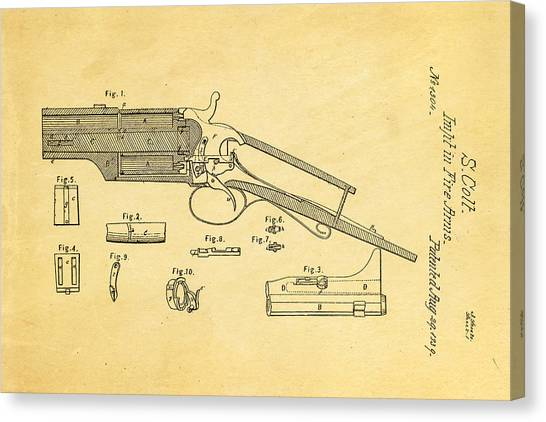 Nra Canvas Print - Colt Pistol Patent Art 1839 by Ian Monk