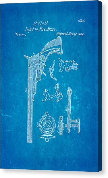 Nra Canvas Print - Colt Pistol Patent Art 2 1839 Blueprint by Ian Monk