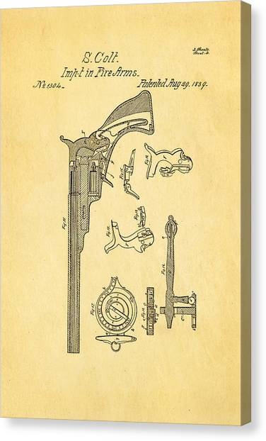 Nra Canvas Print - Colt Pistol Patent Art 2 1839 by Ian Monk