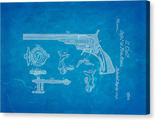 Nra Canvas Print - Colt Pistol Patent Art  3 1839 Blueprint by Ian Monk