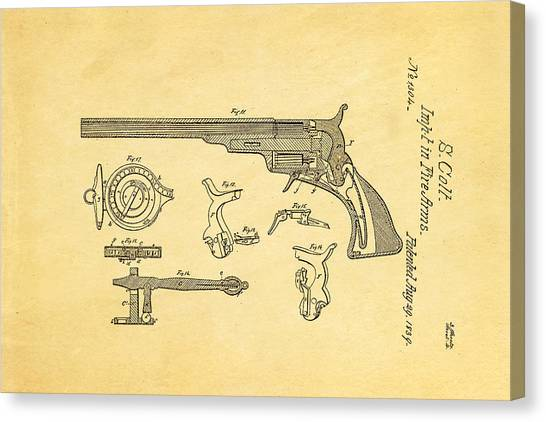 Nra Canvas Print - Colt Pistol Patent Art  3 1839  by Ian Monk