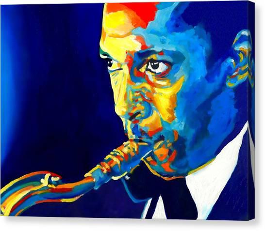 Coltrane-blu Canvas Print by Vel Verrept
