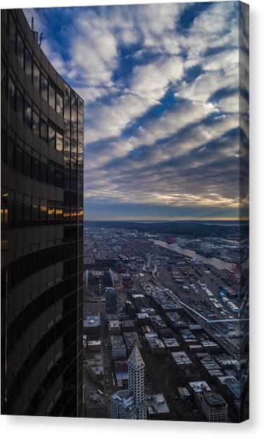 Space Needle Canvas Print - Columbia Center Skies Reflected by Mike Reid