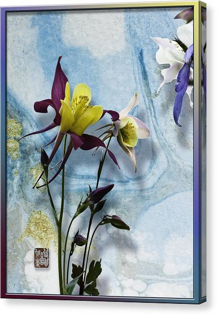 Columbine Blossom With Suminagashi Ink Canvas Print