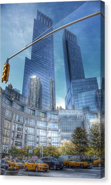 Warner Park Canvas Print - New York - Columbus Circle - Time Warner Center by Marianna Mills