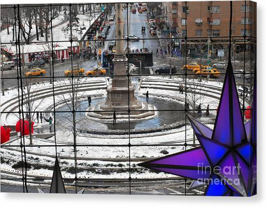 Warner Park Canvas Print - Columbus Circle View by Andrea Simon