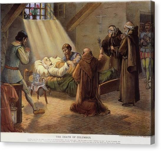 1506 Canvas Print - Columbus Deathbed, 1506 by Granger
