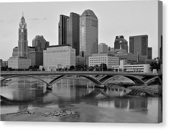 Cleveland State University Canvas Print - Columbus In Classic Black And White by Frozen in Time Fine Art Photography