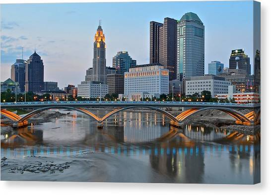 Cleveland State University Canvas Print - Columbus Ohio As The Lights Come On by Frozen in Time Fine Art Photography