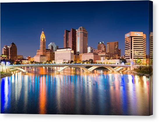 City Sunsets Canvas Print - Columbus Ohio by Emmanuel Panagiotakis