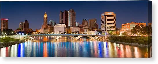 City Sunsets Canvas Print - Columbus Ohio Pano  by Emmanuel Panagiotakis