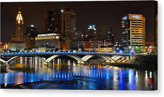 Ohio State University Canvas Print - Columbus Ohio Panorama by Frozen in Time Fine Art Photography