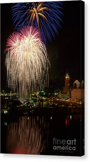 Columbus Red White And Boom Canvas Print