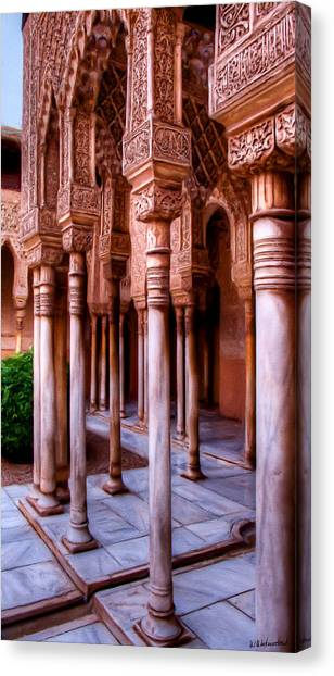 Columns Of The Court Of The Lions - Painting Canvas Print