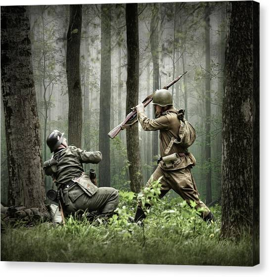 Fighting Canvas Print - Combat by Dmitry Laudin