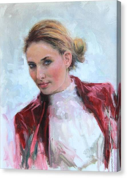 Come A Little Closer Young Woman Portrait Canvas Print