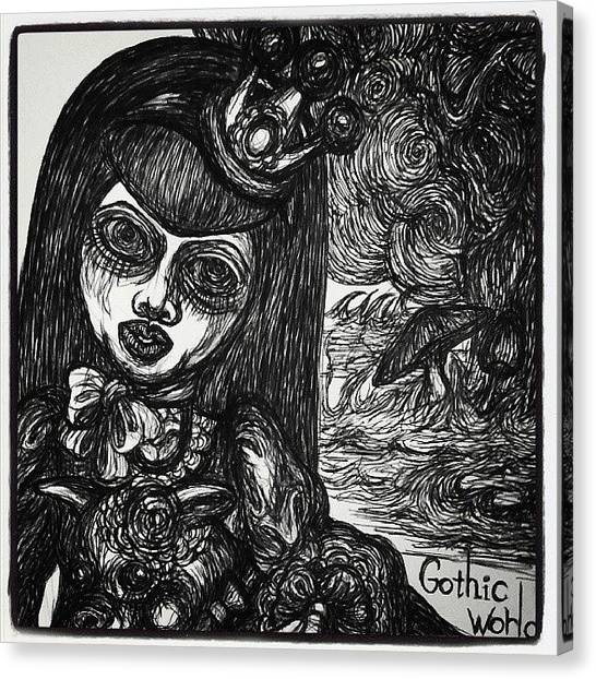 Gothic Art Canvas Print - Come Here...our Gothic World by Akiko Okabe