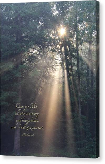 Bible Verses Canvas Print - Come To Me by Lori Deiter