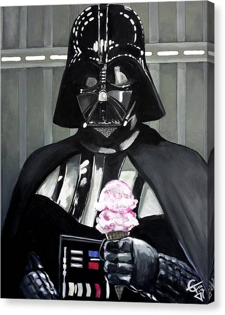 Darth Vader Canvas Print - Come To The Dark Side... We Have Ice Cream. by Tom Carlton