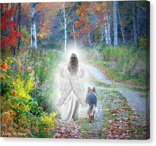 German Shepherds Canvas Print - Come Walk With Me by Sue Long
