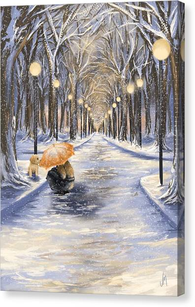 Christmas Lights Canvas Print - Come With Me by Veronica Minozzi