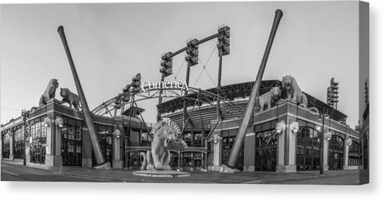 Detroit Tigers Canvas Print - Comerica Park Black And White by John McGraw