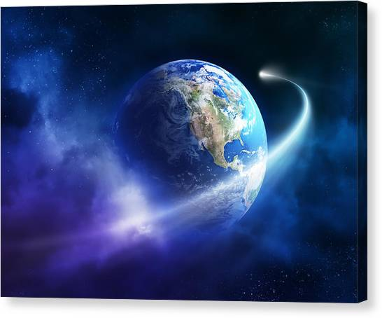 Conceptual Art Canvas Print - Comet Moving Passing Planet Earth by Johan Swanepoel