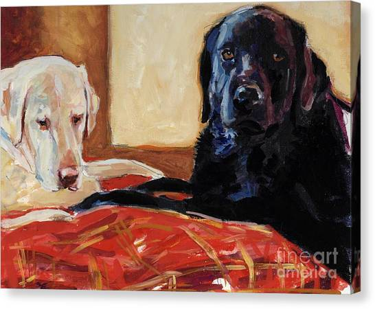 Yellow Lab Canvas Print - Comfort And Joy by Molly Poole
