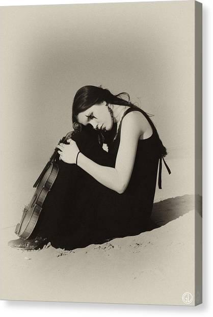 Violin Canvas Print - Comfort In The Desert by Gun Legler