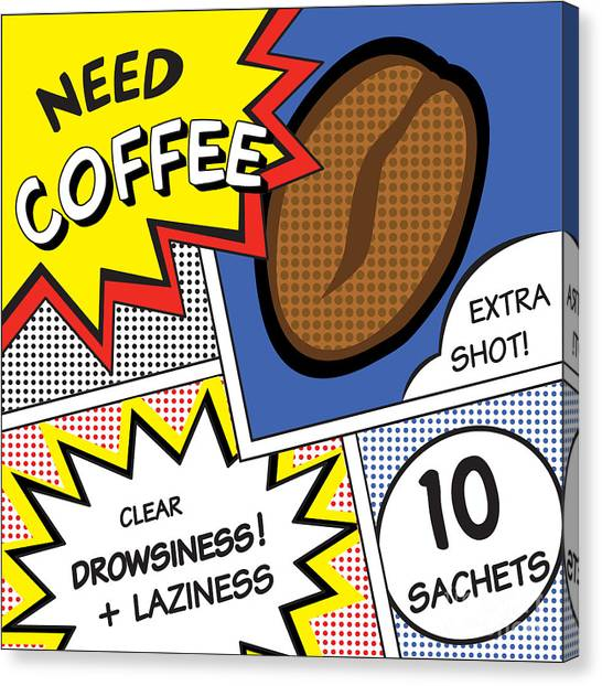 Symbols Canvas Print - Comic Stripes Of Coffee Drink by Neens