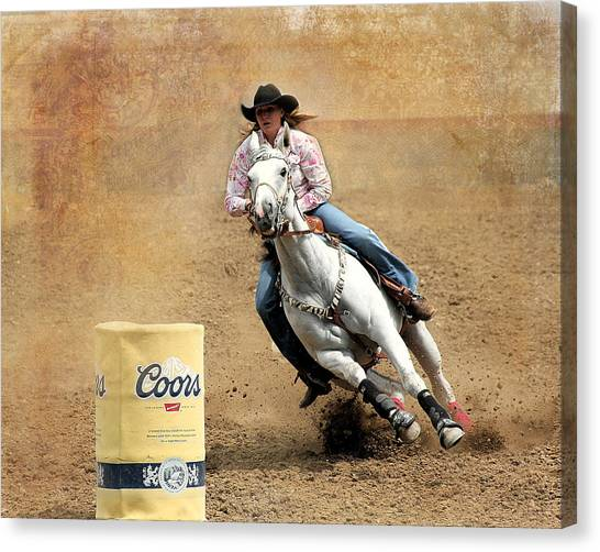 Barrel Racing Canvas Print - Coming Are The Bend by Steven Reed