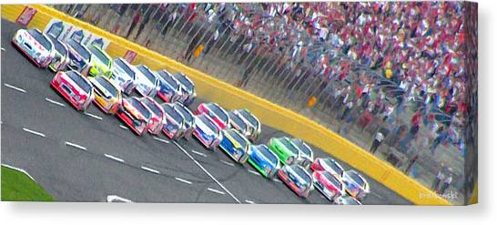 Nascar Canvas Print - Coming Out Of Turn 4 by Kenneth Krolikowski