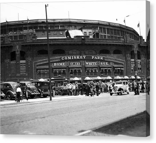 Chicago White Sox Canvas Print - Comiskey Park Looms by Retro Images Archive