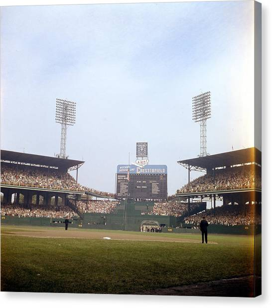 Chicago White Sox Canvas Print - Comiskey Park Photo From The Outfield by Retro Images Archive