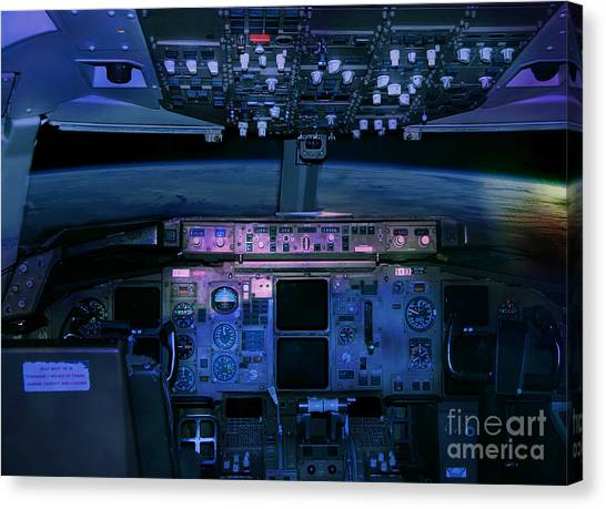 Commercial Airplane Cockpit By Night Canvas Print