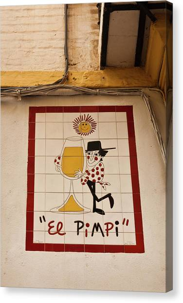 Andalusia Canvas Print - Commercial Sign Of A Bar, El Pimpi by Panoramic Images