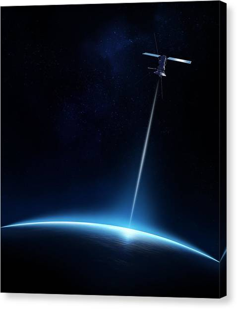 Technology Canvas Print - Communication Between Satellite And Earth by Johan Swanepoel