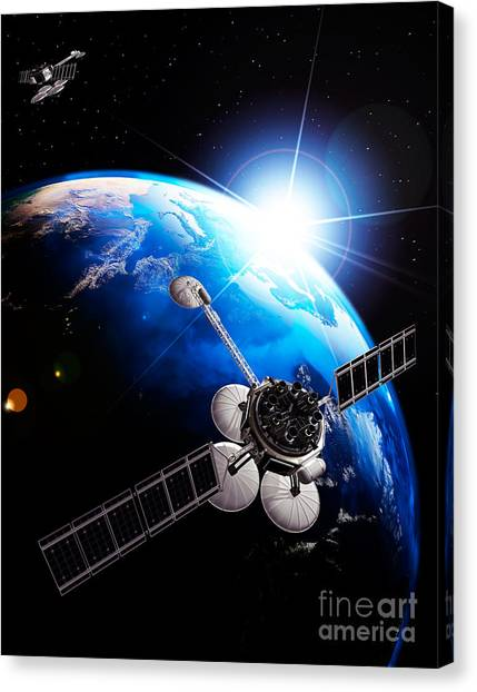 Comsats Canvas Print - Communication Satellites Space Internet Concept by Oleksiy Maksymenko